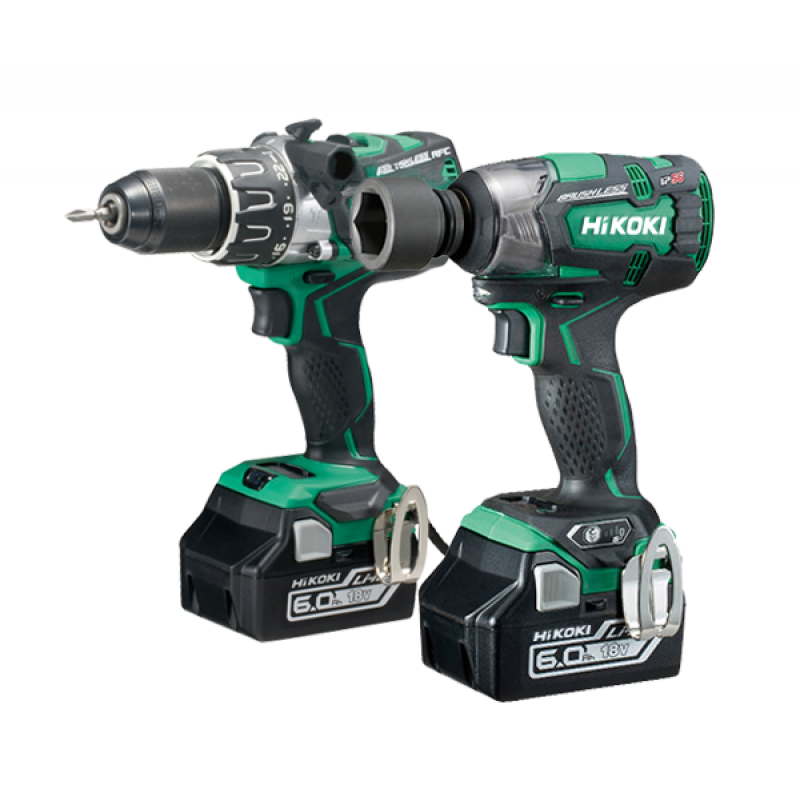 HiKOKI KC18DPL2/JBZ 18V 2 pce Cordless Brushless Kit - Combi Drill & Impact Wrench Kit - 2 x 6.0Ah Batteries - Charger - 2 x Cases
