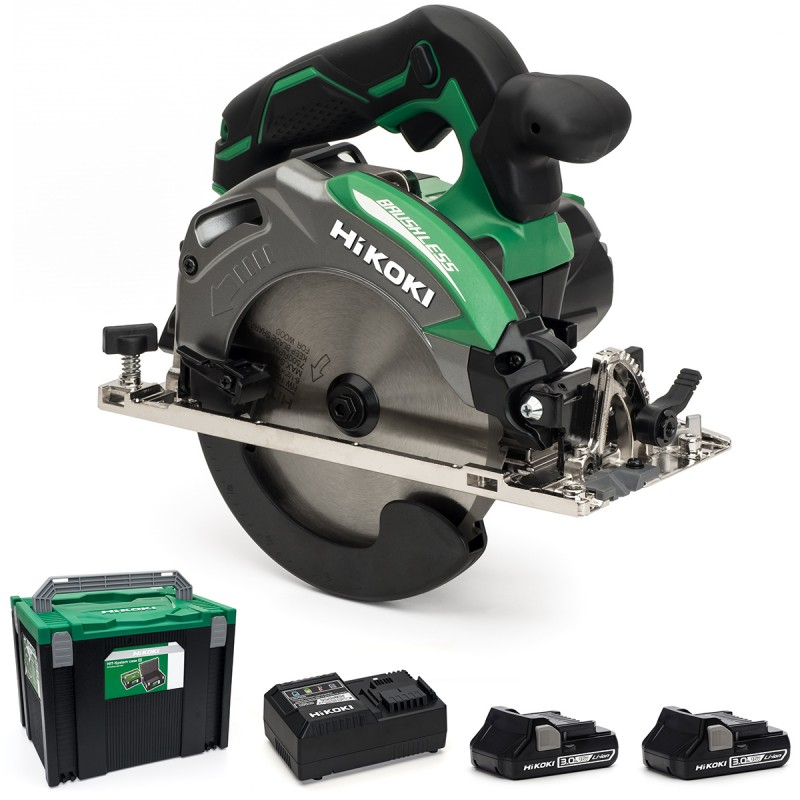 HiKOKI C18DBAL/JM 18V Cordless 165mm Circular Saw Brushless - 2 X 3Ah - Case - Charger