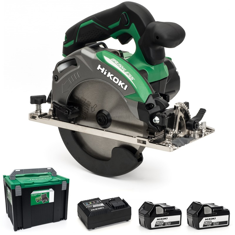 HiKOKI C18DBAL/JP 18V Cordless 165mm Circular Saw Brushless - 2 X 5Ah - Case - Charger