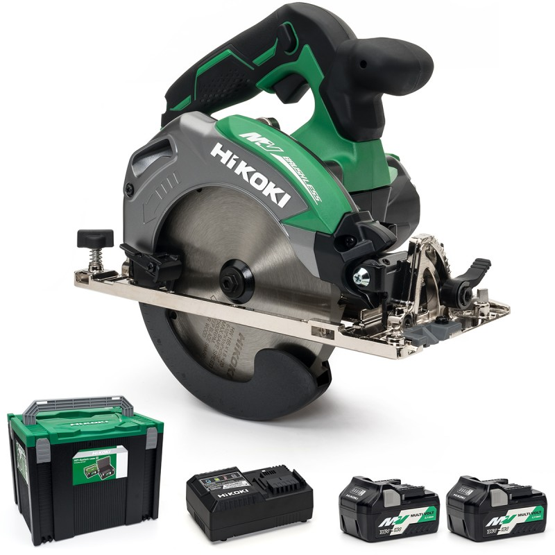 HiKOKI C3606DA/JRZ 36V Multi-Volt Cordless 165mm Circular Saw Brushless - 2 x 2.5Ah - Case - Charger