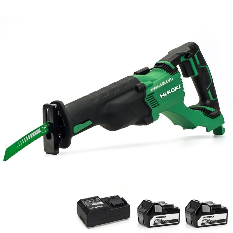 HiKOKI CR18DBL/JJ 18V Cordless Brushless Reciprocating Saw - 2 X 5Ah - Case - Charger