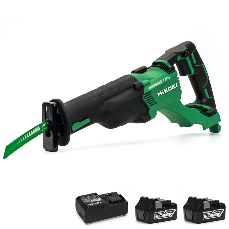 HiKOKI CR18DBL/JX 18V Cordless Brushless Reciprocating Saw - 2 X 6Ah - Case - Charger