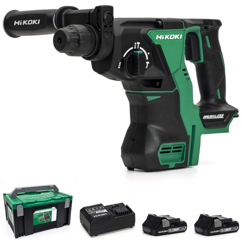 HiKOKI DH18DBL/JM 18V Brushless SDS Plus Rotary Hammer Drill - 2 X 3.0Ah - Case - Charger