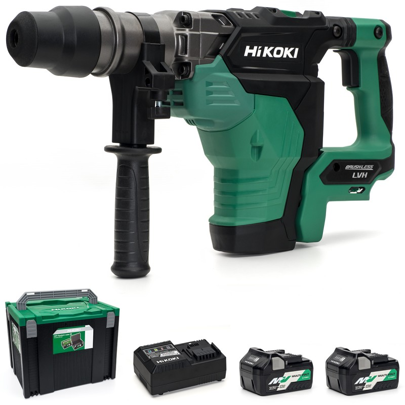HiKOKI DH36DMA/JGZ 36V Multi-Volt Cordless SDS-Max Hammer Drill Brushless - 2 X 2.5Ah Multi-Volt Batteries - Case - Grease Pack - Charger