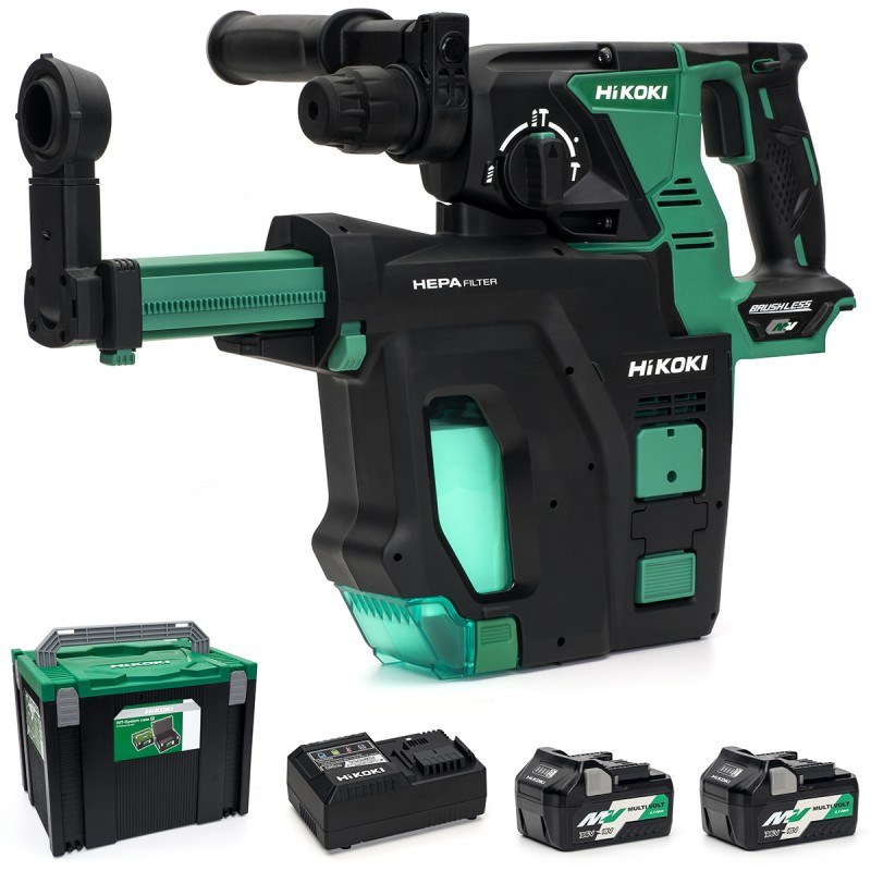 HiKOKI DH36DPB/JKZ 36V Multi-Volt Cordless SDS-Plus Hammer Drill Brushless (With Dust Collector) - 2 X 2.5Ah - Blown Moulded Case - Charger