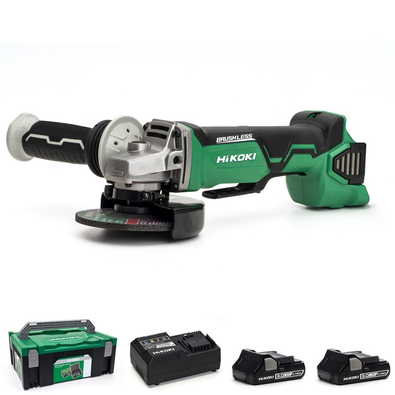 HiKOKI G18DBAL/JM 18V Cordless Angle Grinder (Paddle Switch) Brushless - 2 X 3.0Ah Batteries - Charger - Case