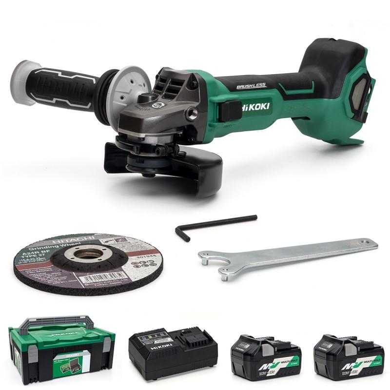 HiKOKI Multi-Volt Angle Grinder 115mm - G3612DB/JRZ - Paddle Switch - 36V - 2 X 2.5Ah - Case - Charger
