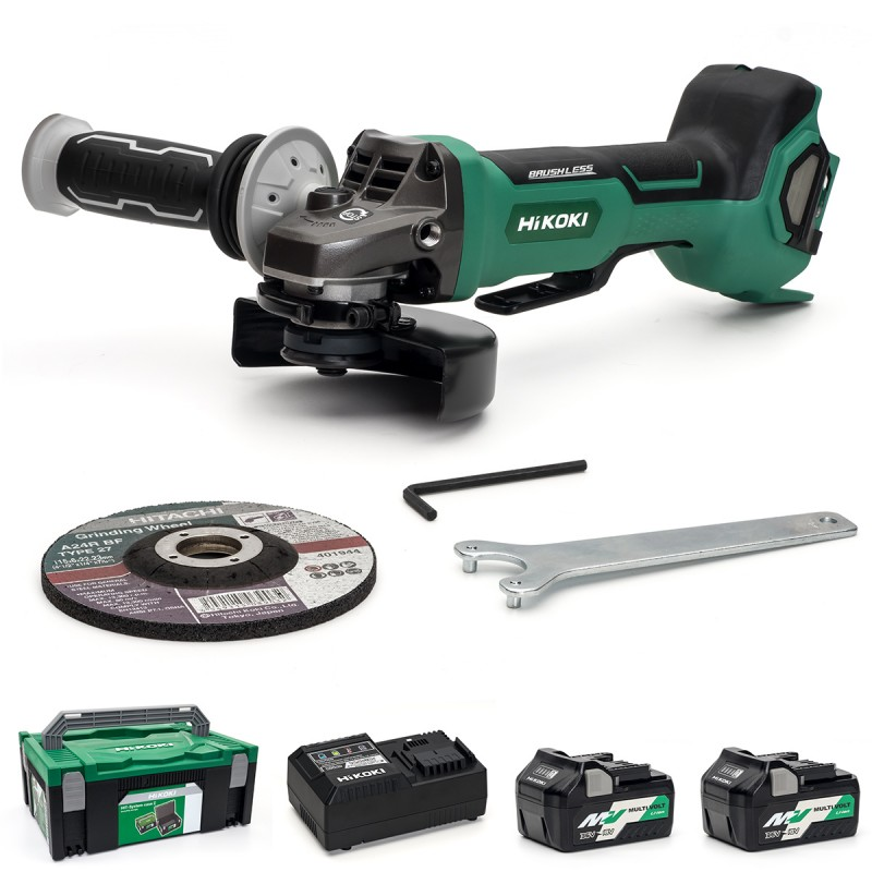 HiKOKI Multi-Volt Angle Grinder 125mm - G3613DB/JRZ - Paddle Switch - 36V - 2 X 2.5Ah - Case - Charger
