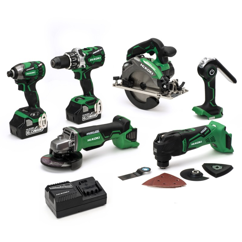 HiKOKI KTL618BL 18V 2x6.0Ah Li-ion Cordless 6 Piece Kit - 2 x 6.0Ah Batteries - Charger - Tool Bag