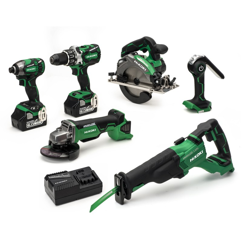 HiKOKI KTL618BL Recip 18V 2x6.0Ah Li-ion Cordless 6 Piece Kit - 2 x 6.0Ah Batteries - Charger - Tool Bag