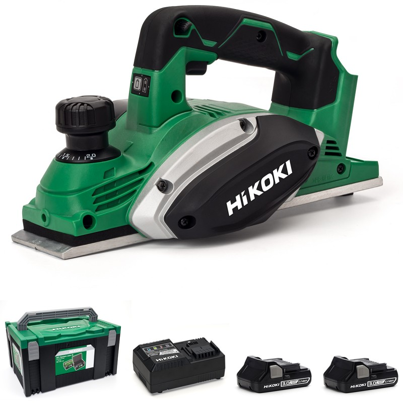 HiKOKI P18DSL/JM 18V Cordless Li-ion Planer 82mm - 2 X 3.0Ah Batteries - Charger - Case