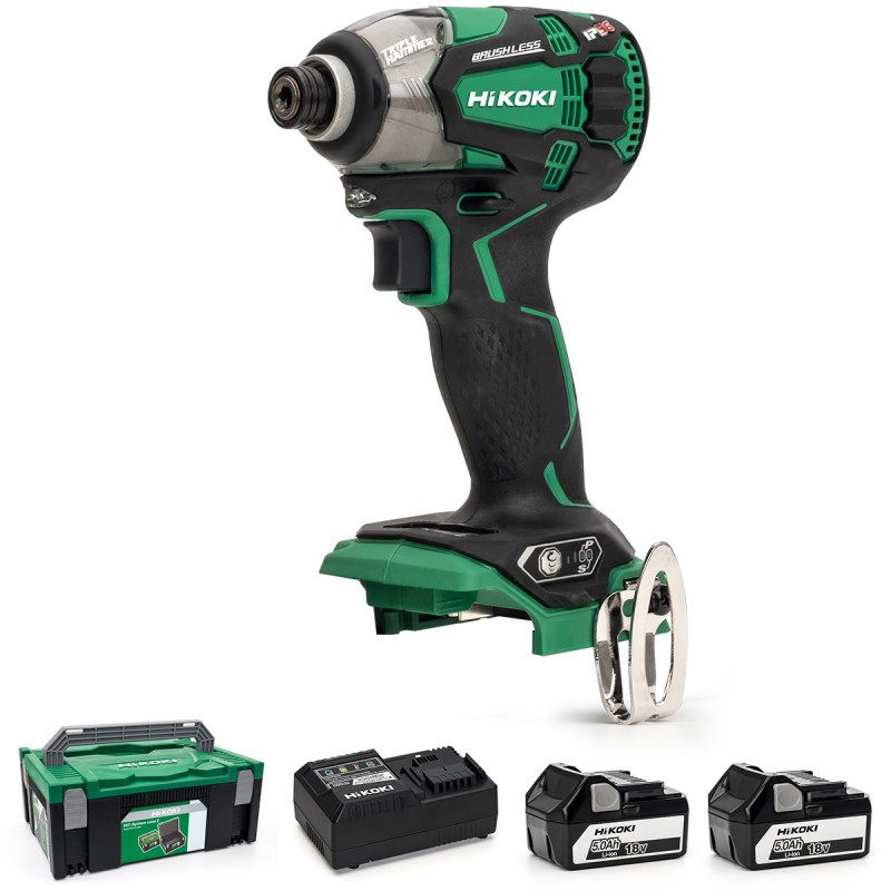 HiKOKI WH18DBDL2/JA 18V Cordless Impact Driver Brushless - 2 X 5.0Ah Batteries - Charger - Case