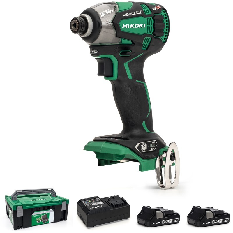 HiKOKI WH18DBDL2/JM 18V Cordless Impact Driver Brushless - 2 X 3.0Ah Batteries - Charger - Case