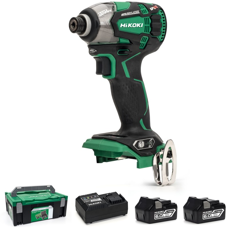 HiKOKI WH18DBDL2/JX 18V Cordless Impact Driver Brushless - 2 X 6.0Ah Batteries - Charger - Case