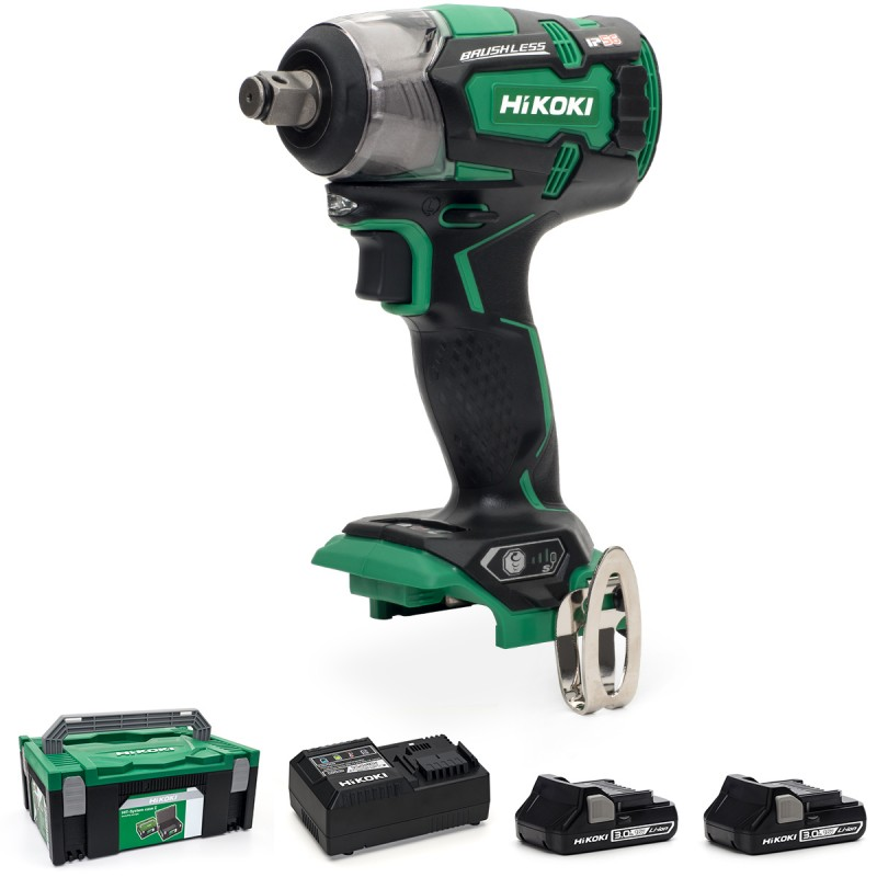 "HiKOKI WR18DBDL2/JM 18V Cordless 1/2"" (12.7mm) IP56 Impact Wrench Brushless - 2 X 3.0Ah Batteries - Charger - Case"