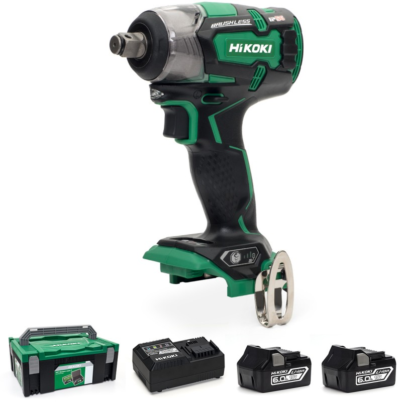 "HiKOKI WR18DBDL2/JX 18V Cordless 1/2"" (12.7mm) IP56 Impact Wrench Brushless - 2 X 6.0Ah Batteries - Charger - Case"