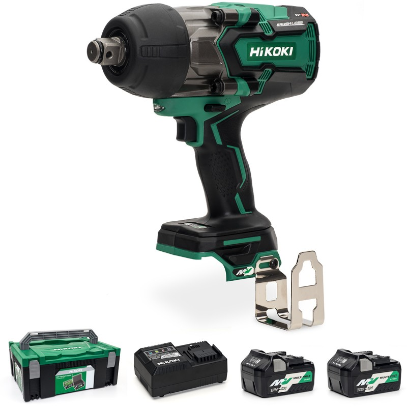 "HiKOKI WR36DA/JRZ 36V Multi-Volt Cordless 3/4"" (19mm) Impact Wrench Brushless - 2 X 2.5Ah - Case - Charger"