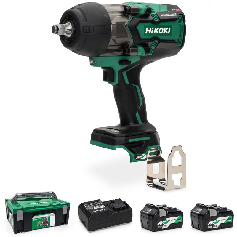 "HiKOKI WR36DB/JRZ 36V Multi-Volt Cordless 1/2"" (12.7mm) Impact Wrench Brushless - 2 X 2.5Ah - Case - Charger"