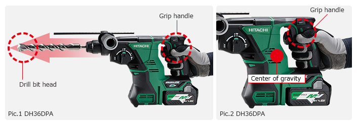 DH36DPA - grip handle in the ideal place for center of gravity and for maximum force